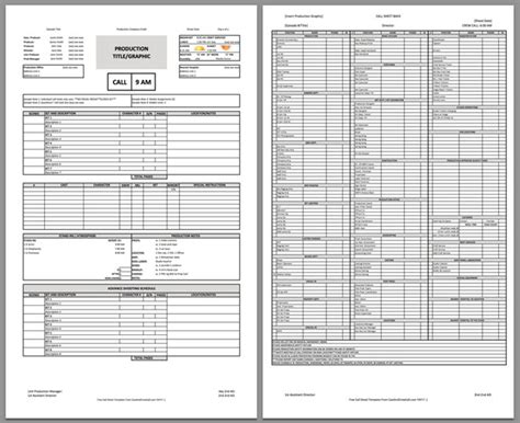 Free Two Page Professional Call Sheet Template Call Sheet Template