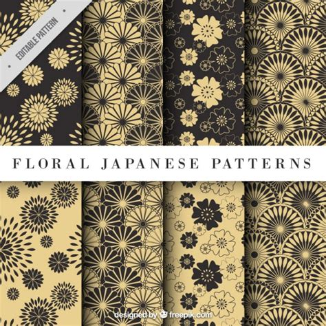 asian pattern ai yellow floral japanese pattern vector free download