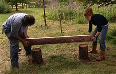 how to make benches out of logs bbc gardening gardening guides techniques build a