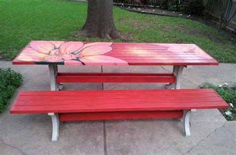 cool painted picnic tables painted picnic table fun with furniture pinterest