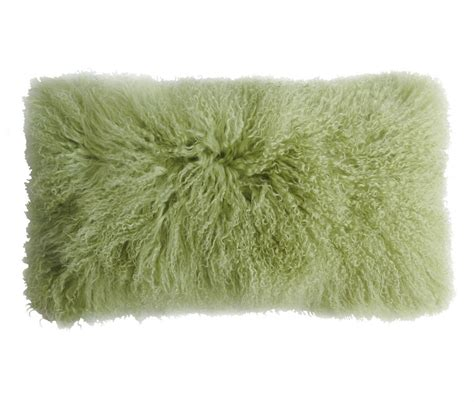 Sheep Skin Pillow by Tibetan Lambskin Curly Fur Kidney Pillows Leaf Green