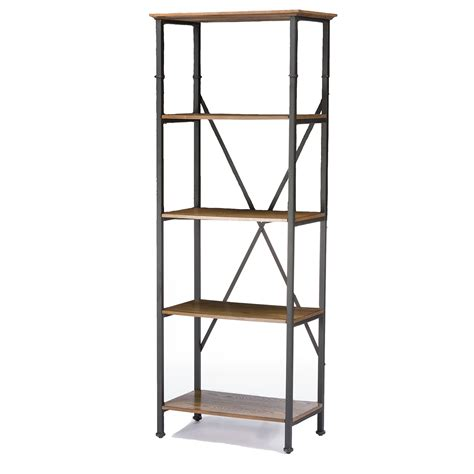 baxton studio lancashire wood metal bookcase