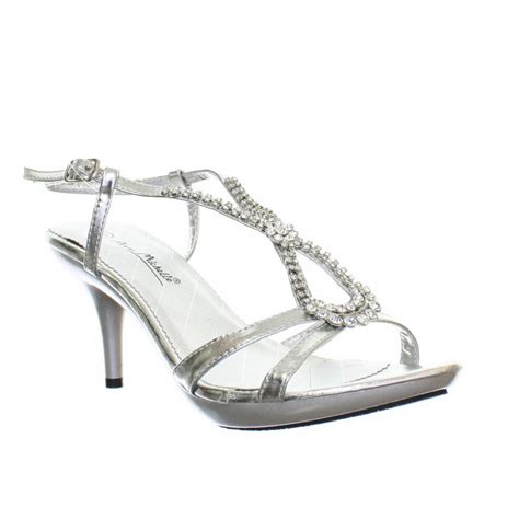 silver sandals for wedding low heel womens kitten heel low diamante silver wedding prom