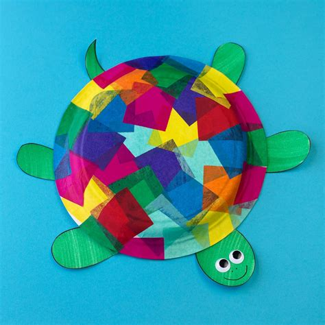 Turtle Paper Plate Craft Template - tissue paper and paper plate turtle craft
