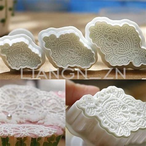 Mould Macrame 3pcs embroidery macrame sugarcraft fondant cake decorating cutters plunger mould macrame