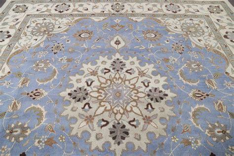 10 X 10 Square Area Rug - light blue floral square 10x10 kashan area rug
