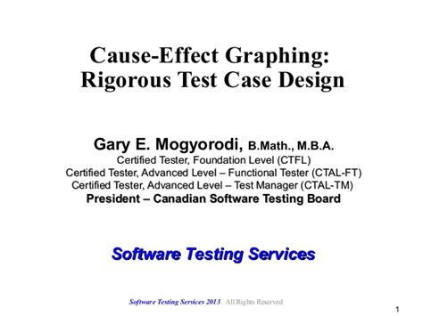 design test effect cause effect graphing rigorous test case design