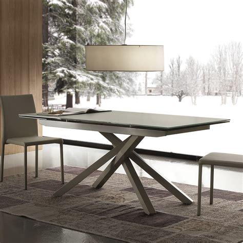 tavoli da tavolo da pranzo allungabile con piano in vetro velvet