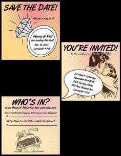Save The Date Dc Nearlyweds by Vintage Marvel Dc Comic Book Wedding Invitation Set Sle