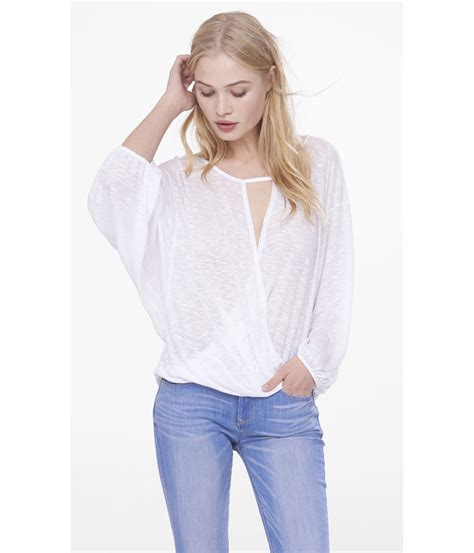 Blouse Batwing express slub loop front batwing sleeve blouse in white true white lyst