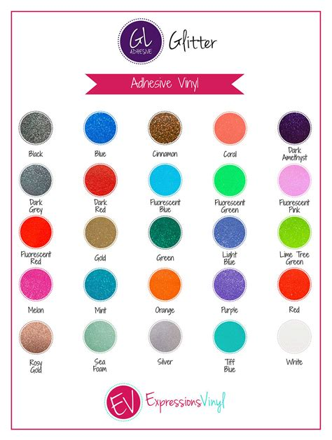 siser glitter color chart color charts