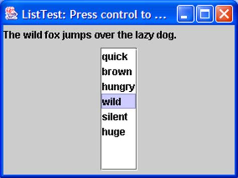 list of swing components how to use the list component list 171 swing jfc 171 java