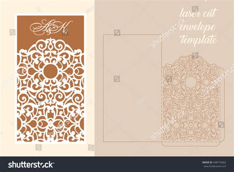 paper cutting wedding invitations wedding invitation greeting card abstract ornament stock vektor 438773662
