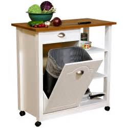 Kitchen cart with trash bin kitchen islands and carts at hayneedle