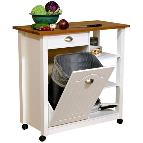kitchen cart and islands venture horizon butcher block top kitchen cart with trash bin kitchen islands and carts at