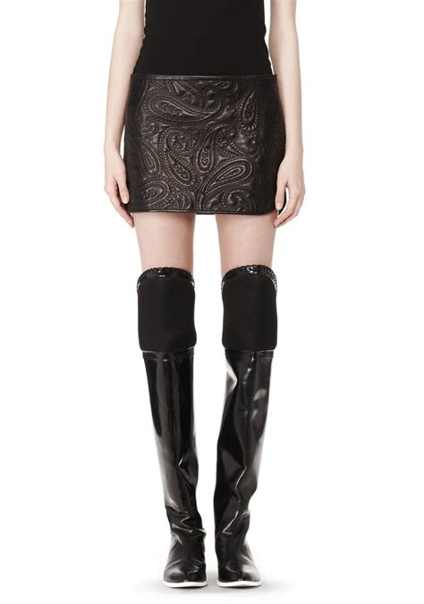 wang paisley quilted leather skirt skirt