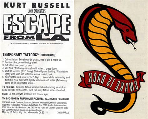 snake plissken tattoo the escape from new york l a page a tribute to snake