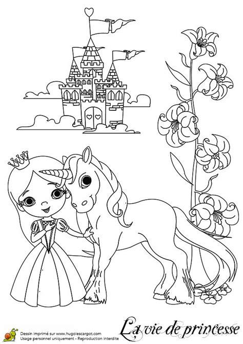coloriage du dessin illustrant sa licorne et ch 226 teau de diamant coloriages de f 233 es