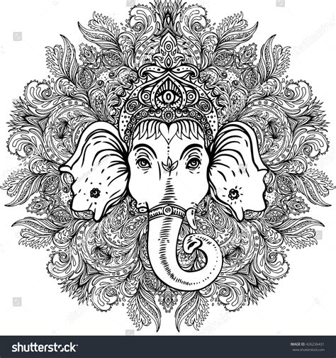 hindu mandala coloring pages hindu lord ganesha ornate mandala stock vector