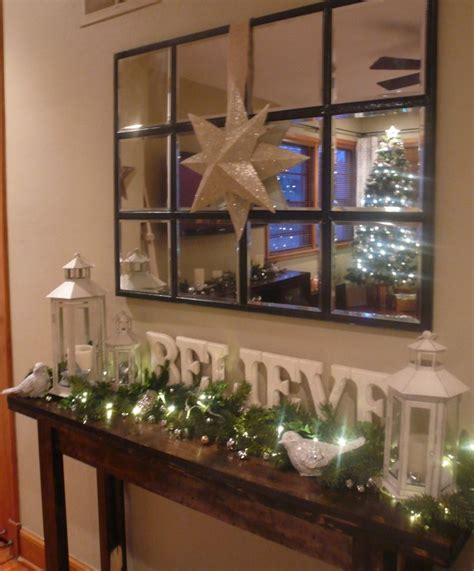 decorated christmas console table i like the letters