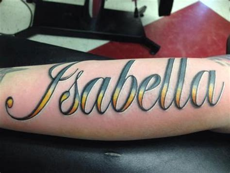 isabella tattoo in color script by izzy morales tattoos