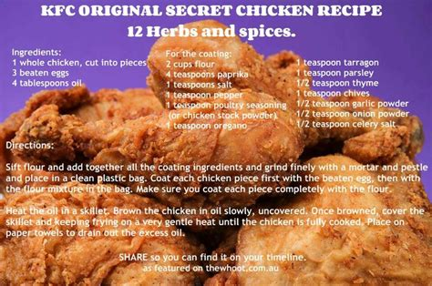 kfc 12 herbs and spices for chicken recipes pinterest
