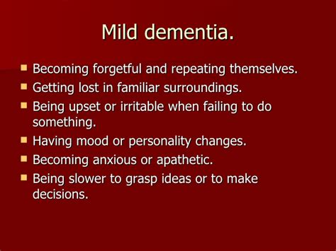 mild mood swings confusion and dementia