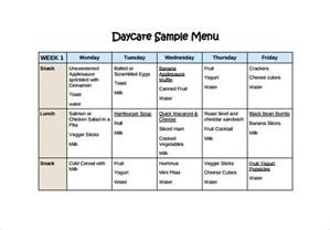 Home Menu Template by Daycare Menu Template 10 Free Printable Pdf Documents