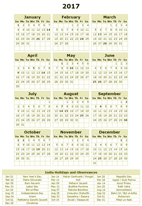 Calendar October 2017 With Holidays India Free Printable Calendar 2017 India Holidays Calendar 2017