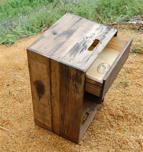 Wooden Crate Nightstand Wooden Crate Nightstand Side Table Drawer Reclaim Wood