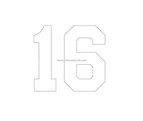 number 16 template free football 16 number stencil freenumberstencils