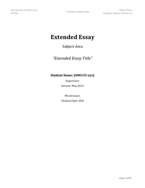 Extended Essay Title Page Exle by Extended Essay Frame