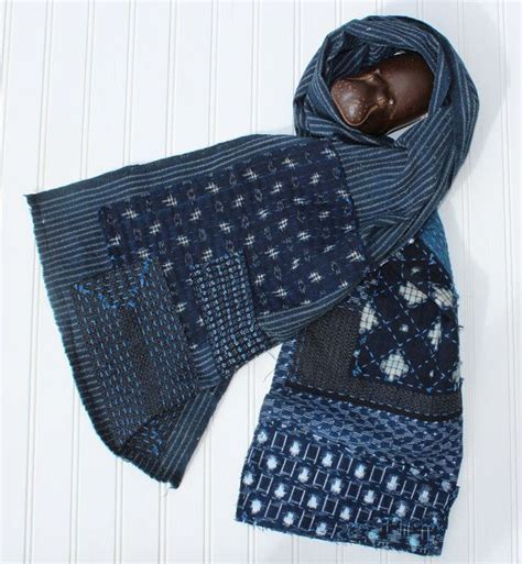 japanese pattern scarf boro scarf made from vintage japanese shima handwoven