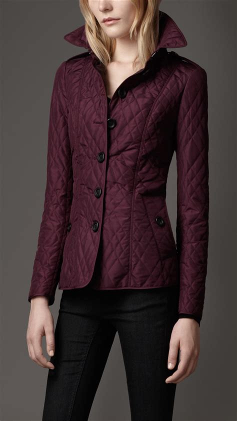 burberry leather trim quilted jacket in purple lyst