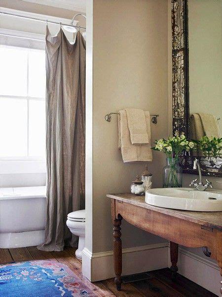 Fenster Dekorieren Ideen 3103 by Earthy Bathroom Linen Like Curtain Slate Floors Oatmeal