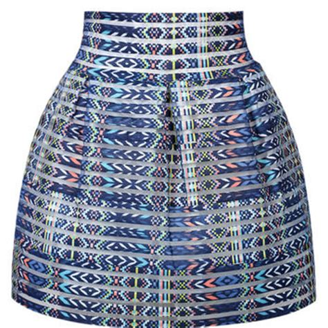 blue patterned mini skirt blue geometric pattern stripe mini skirt from midnight bandit