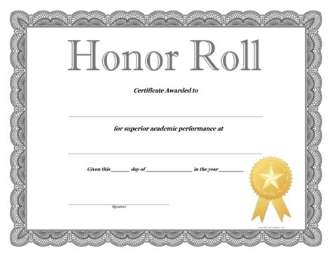 93 honor roll certificate free printable