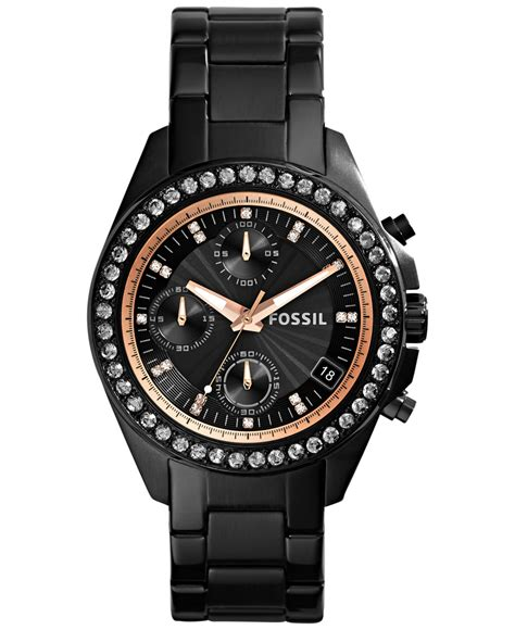 fossil s chronograph decker black tone stainless