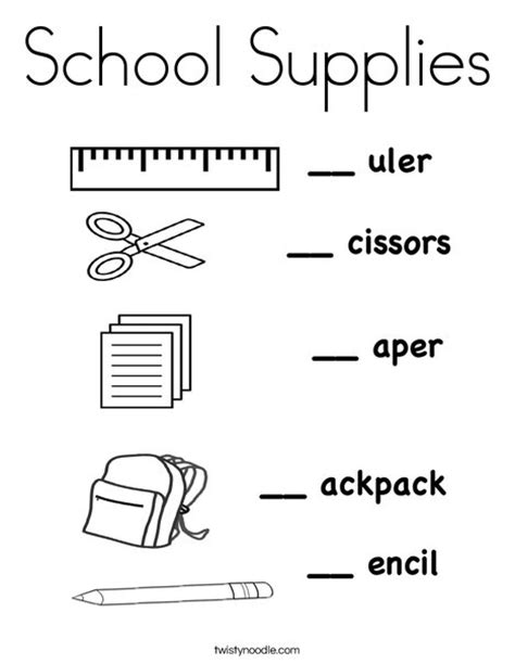 coloring pages of school stuff school supplies coloring page twisty noodle