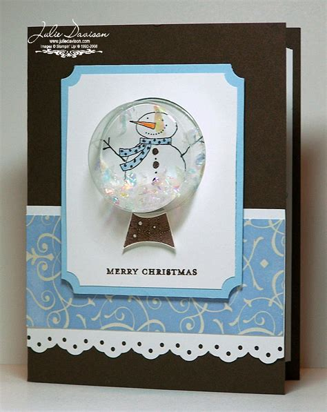 how to make a snow globe card julie s sting spot stin up project ideas by