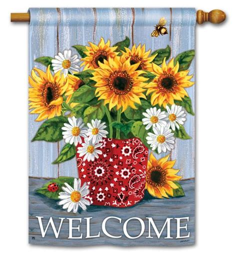double sided house flags bandana sunflowers double sided house flag