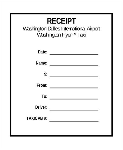 blank cab receipt template taxi receipt template 6 free sle exle format