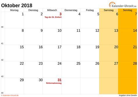 Calendar Oktober 2018 Malaysia Oktober 2018 Kalender Mit Feiertagen