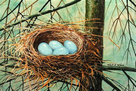blue eggs in nest painting by frank wilson