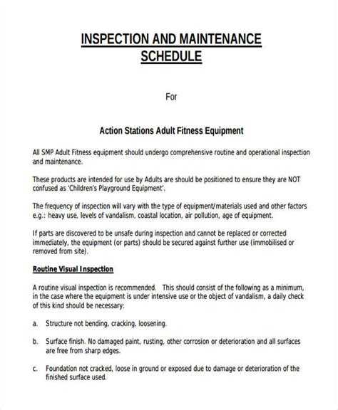 Equipment Maintenance Schedule Template by Equipment Maintenance Schedule Templates 7 Free Word