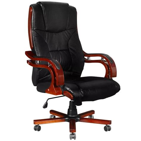 Real Chair Black Real Leather Office Chair High Back Vidaxl