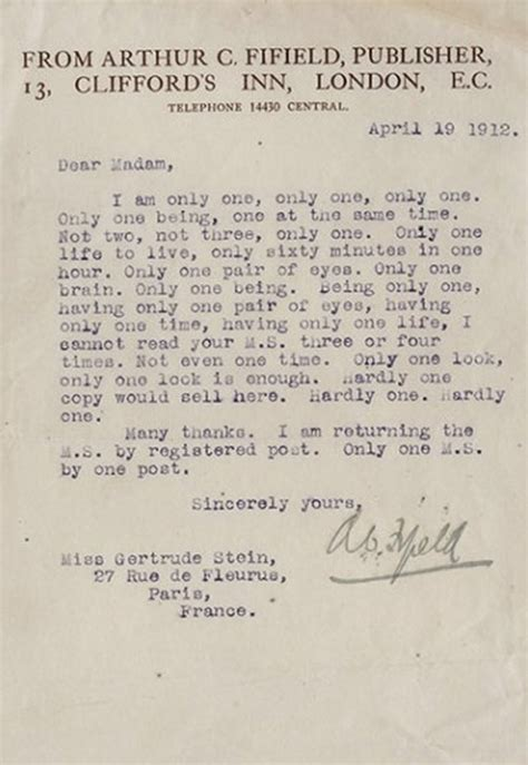 Rejection Letter Buffer Gertrude Stein Gets A Snarky Rejection Letter From Publisher 1912 Open Culture