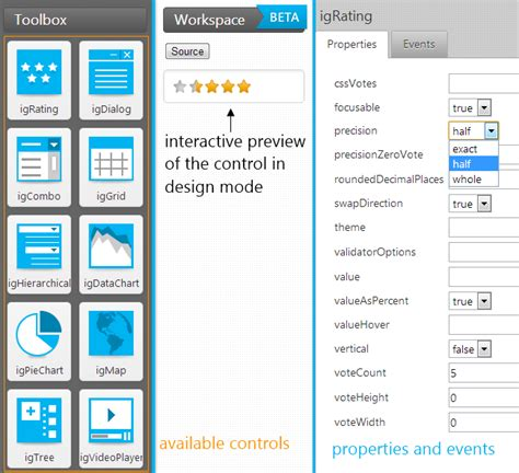 ui layout design tool get javascript code generated for you with the igniteui