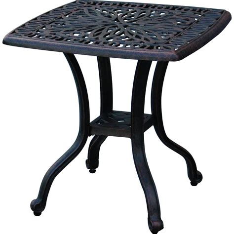 Cast Aluminum Patio Table And Chairs Patio End Table Elisabeth Outdoor Cast Aluminum Furniture Rust Free Bronze Tables