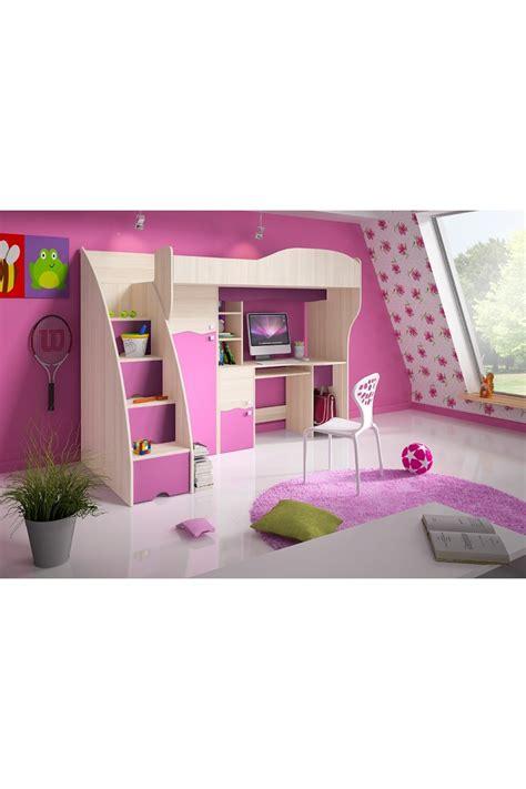 armadio rosa letto a soppalco con scrivania e armadio rosa fiaba 190x80 cm